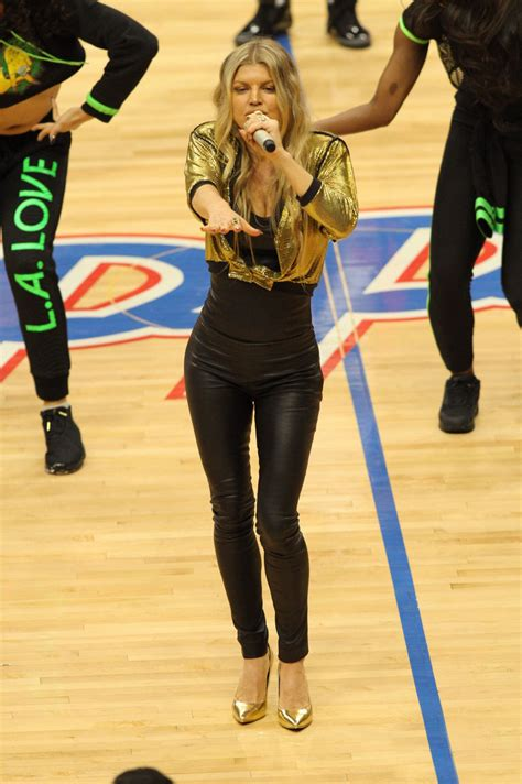 Fergie performs at the Los Angeles Lakers game at Staples