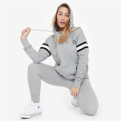 Converse Womens Rib Inset Pull Over Hoodie - Vintage Grey