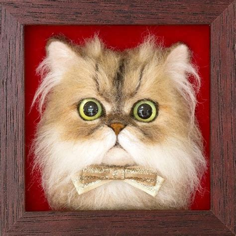 Japanese Artist Felts Realistic Cat Portraits, And The