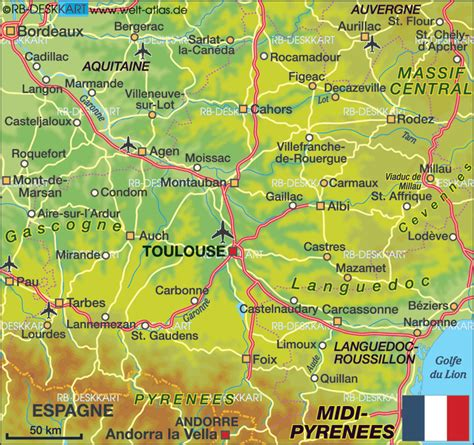 Map of Midi-Pyrenees (State / Section in France) | Welt