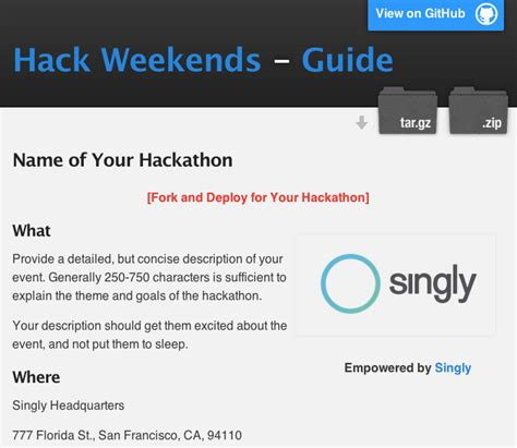 Hack Weekends Directory, Hackathon Guide and Site Template
