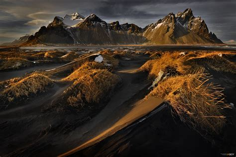 Black Space   Black sand dunes at Stokksnes with Mountain