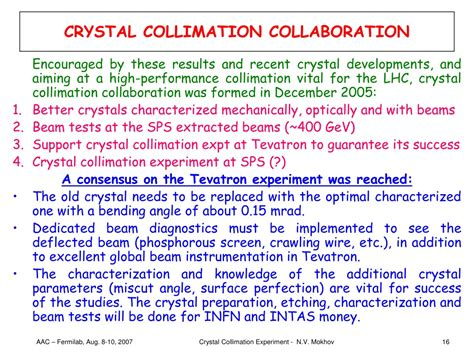 PPT - CRYSTAL COLLIMATION EXPERIMENT AT THE TEVATRON