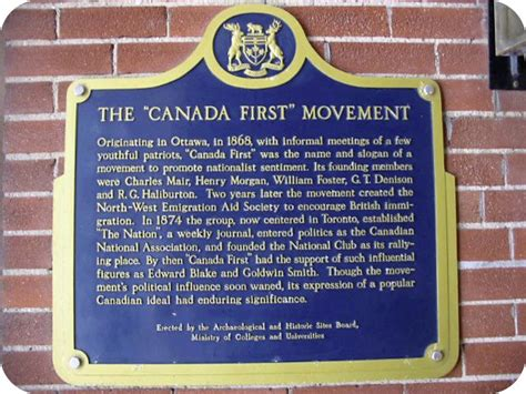 Canada First Movement Historical Plaque